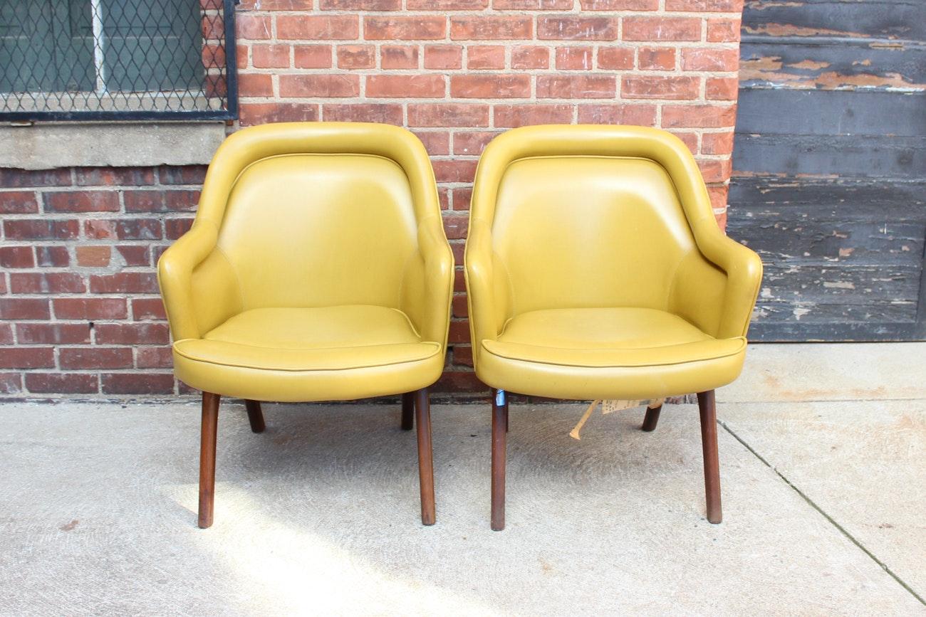Pair of Yellow Mid Century Modern Armchairs