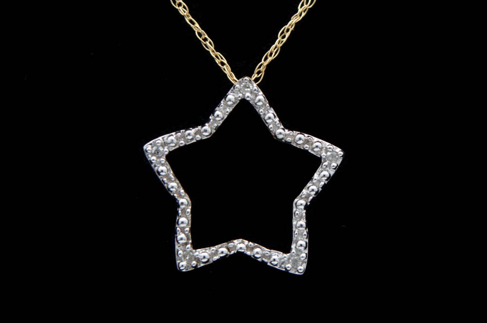 10K Two-Tone Gold and Diamond Star Pendant with Chain