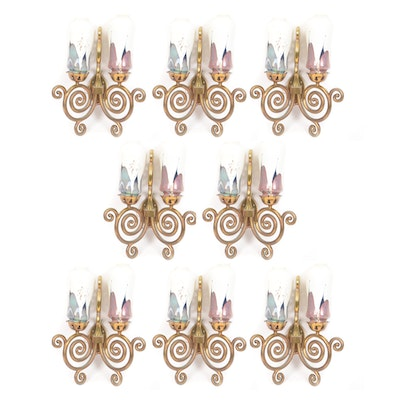 Eight Scroll-Arm Wall Sconces with Ceramic Shades