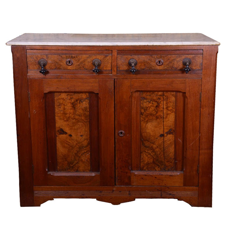 Antique Marble Top and Burlwood Cabinet