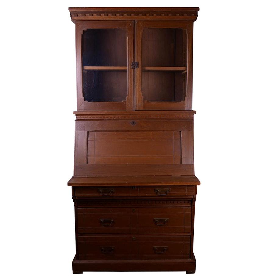 Antique Eastlake Walnut Secretary Desk ... - Antique Eastlake Walnut Secretary Desk : EBTH