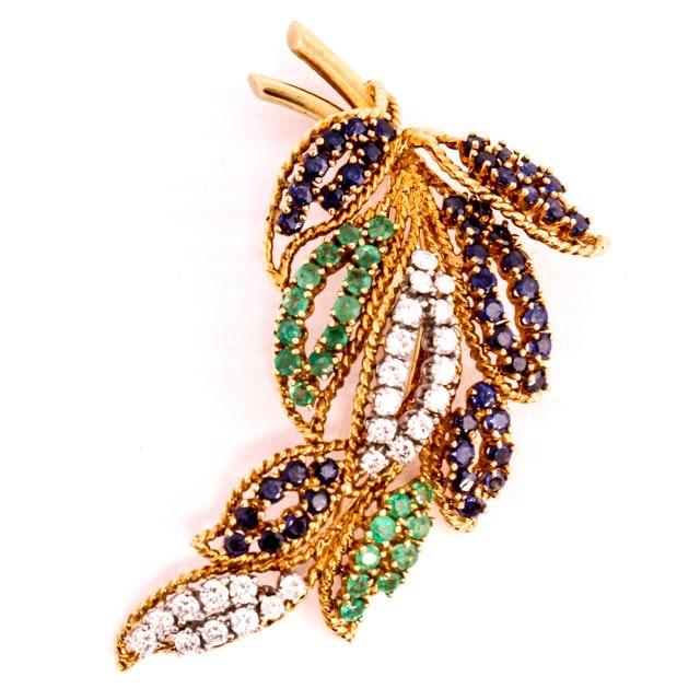 18K Diamond Sapphire and Emerald Leaf Brooch