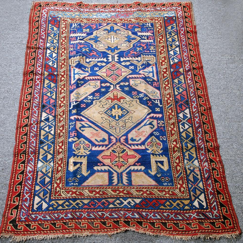 Colorful Flat Weave Caucasian Area Rug
