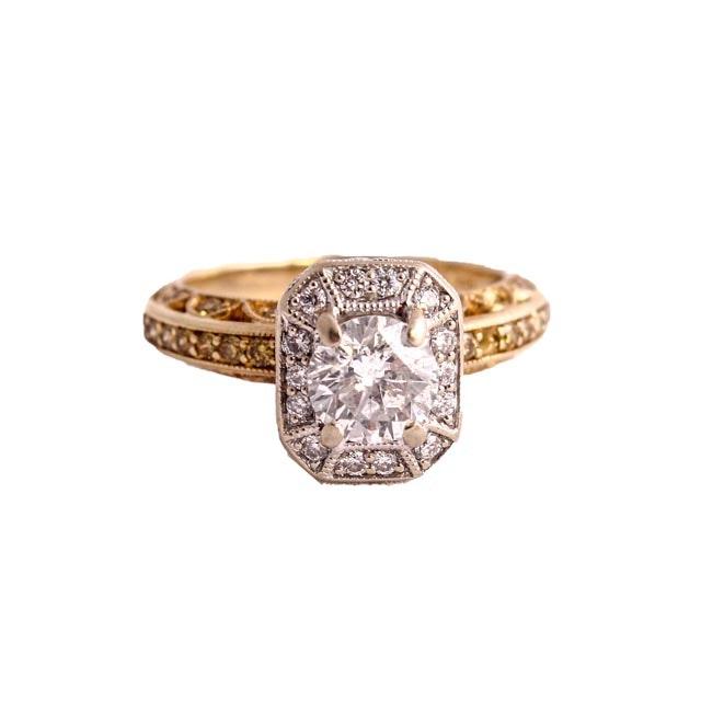 18K Two Tone Diamond Engagement Ring