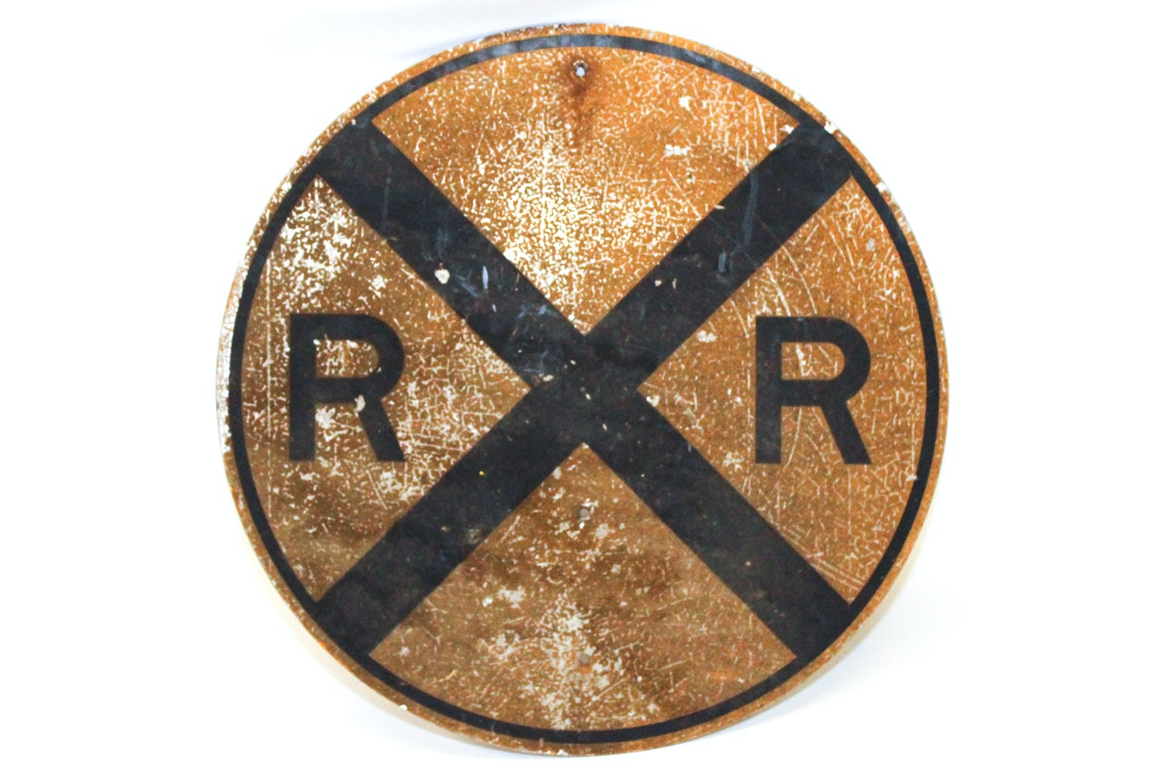 vintage steel railroad crossing sign ebth
