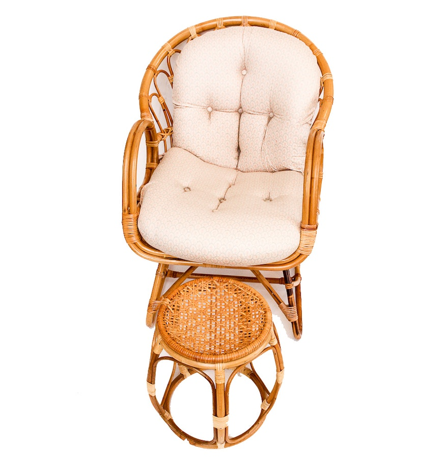 vintage bamboo and wicker scoop chair and ottoman ebth. Black Bedroom Furniture Sets. Home Design Ideas