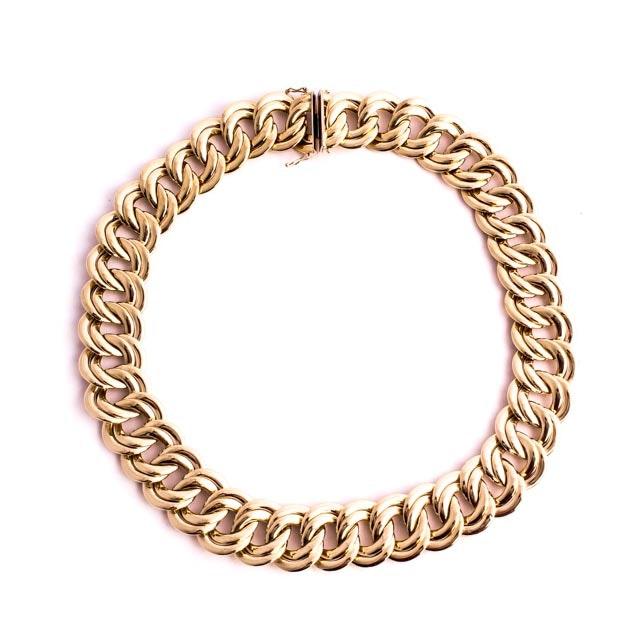 Wide 14K Gold Women's Chain Link Choker