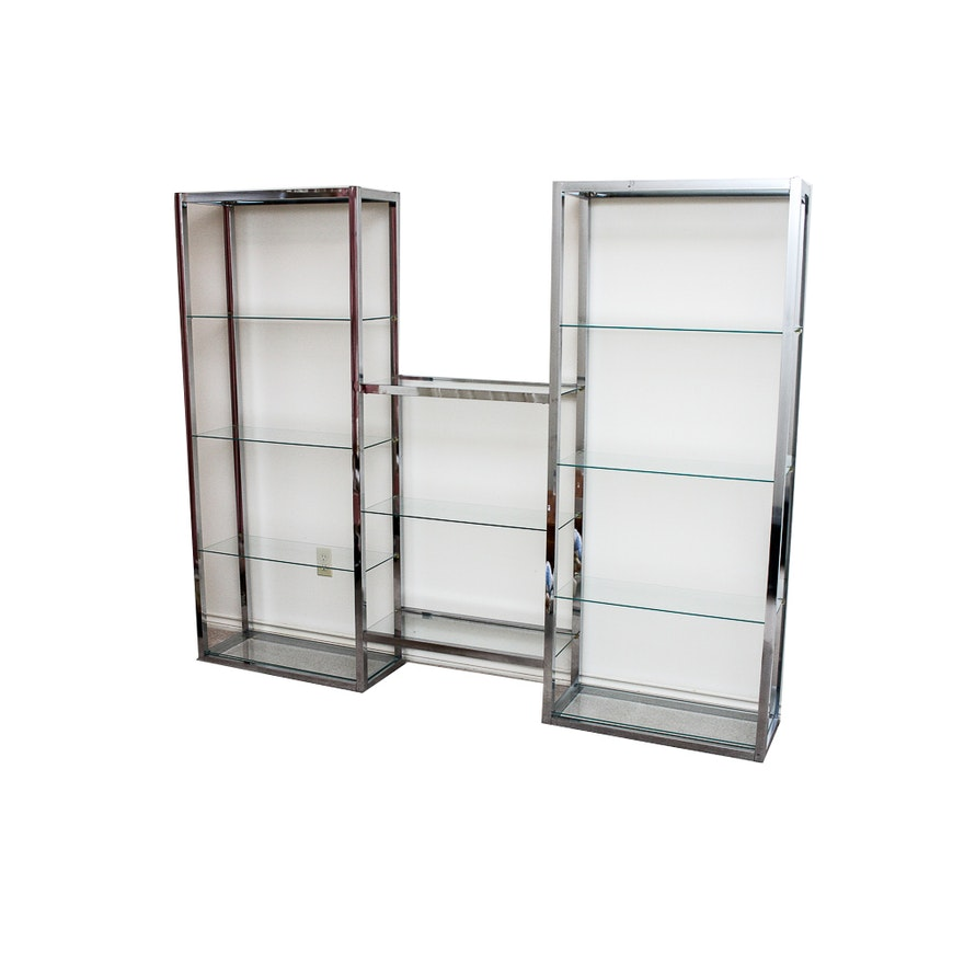Chrome and Glass Shelving Unit : EBTH