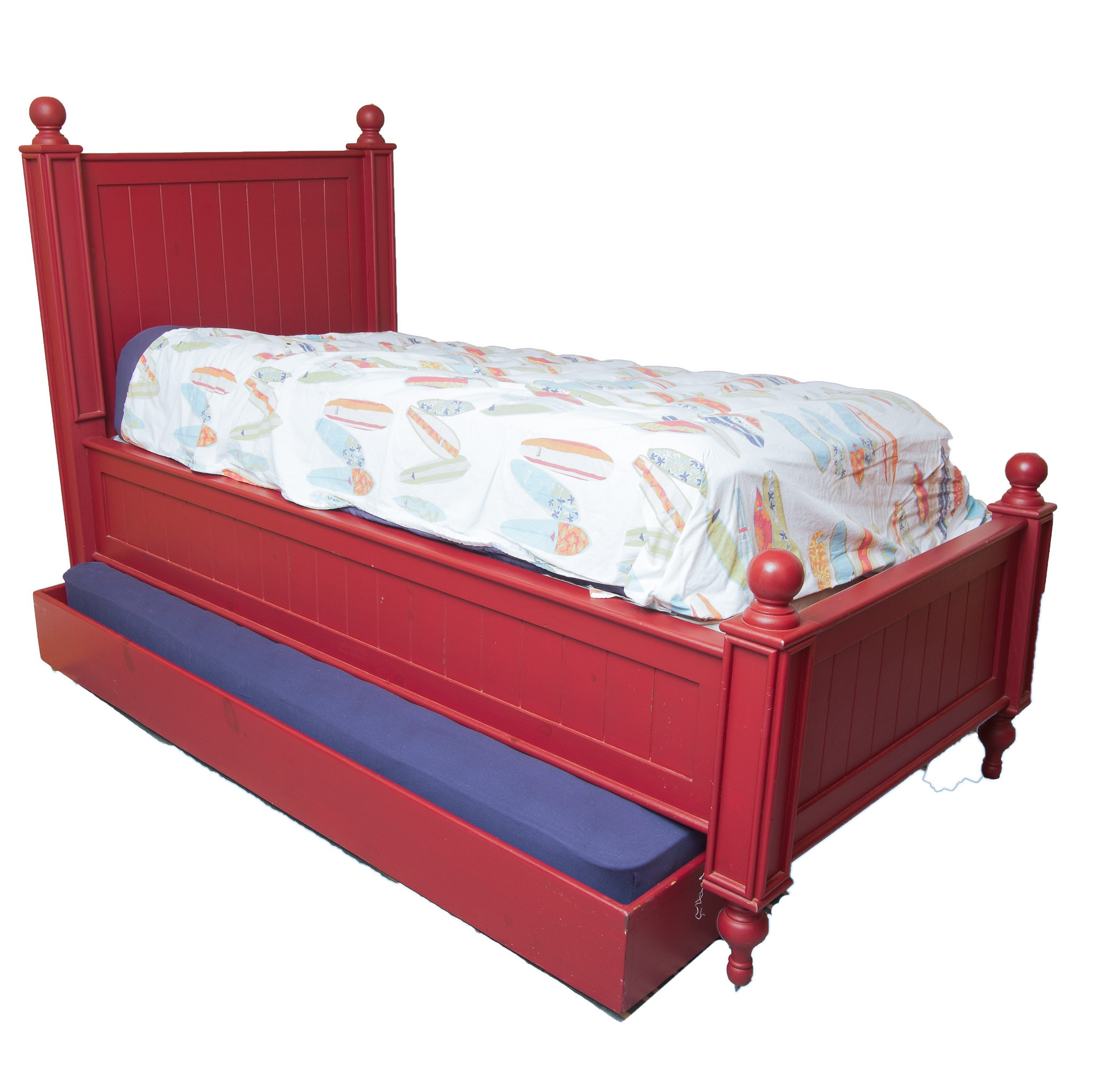 Full Size Wooden Trundle Bed Painted Red