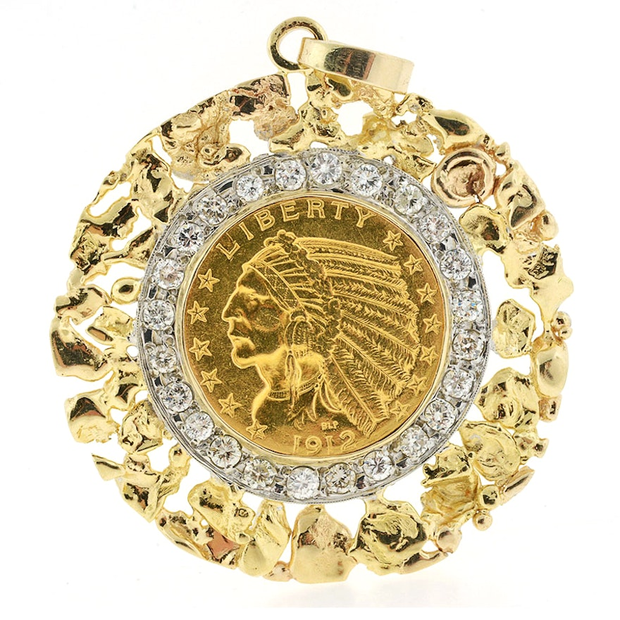 1912 22k gold indian head coin set in diamond encrusted gold 1912 22k gold indian head coin set in diamond encrusted gold nugget pendant mozeypictures Image collections