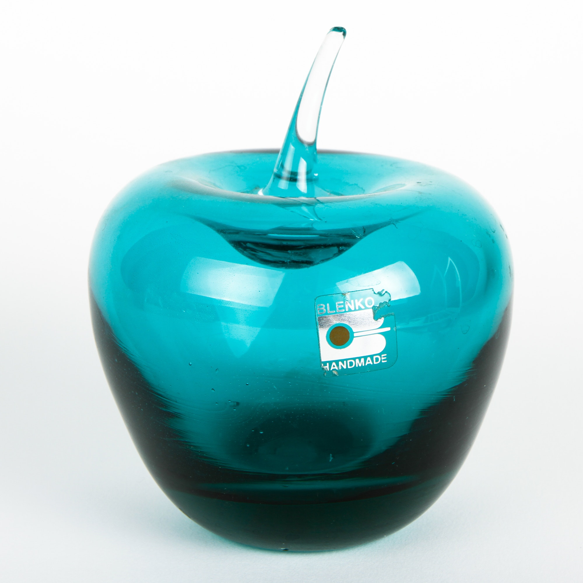 Blenko Green Apple Paperweight