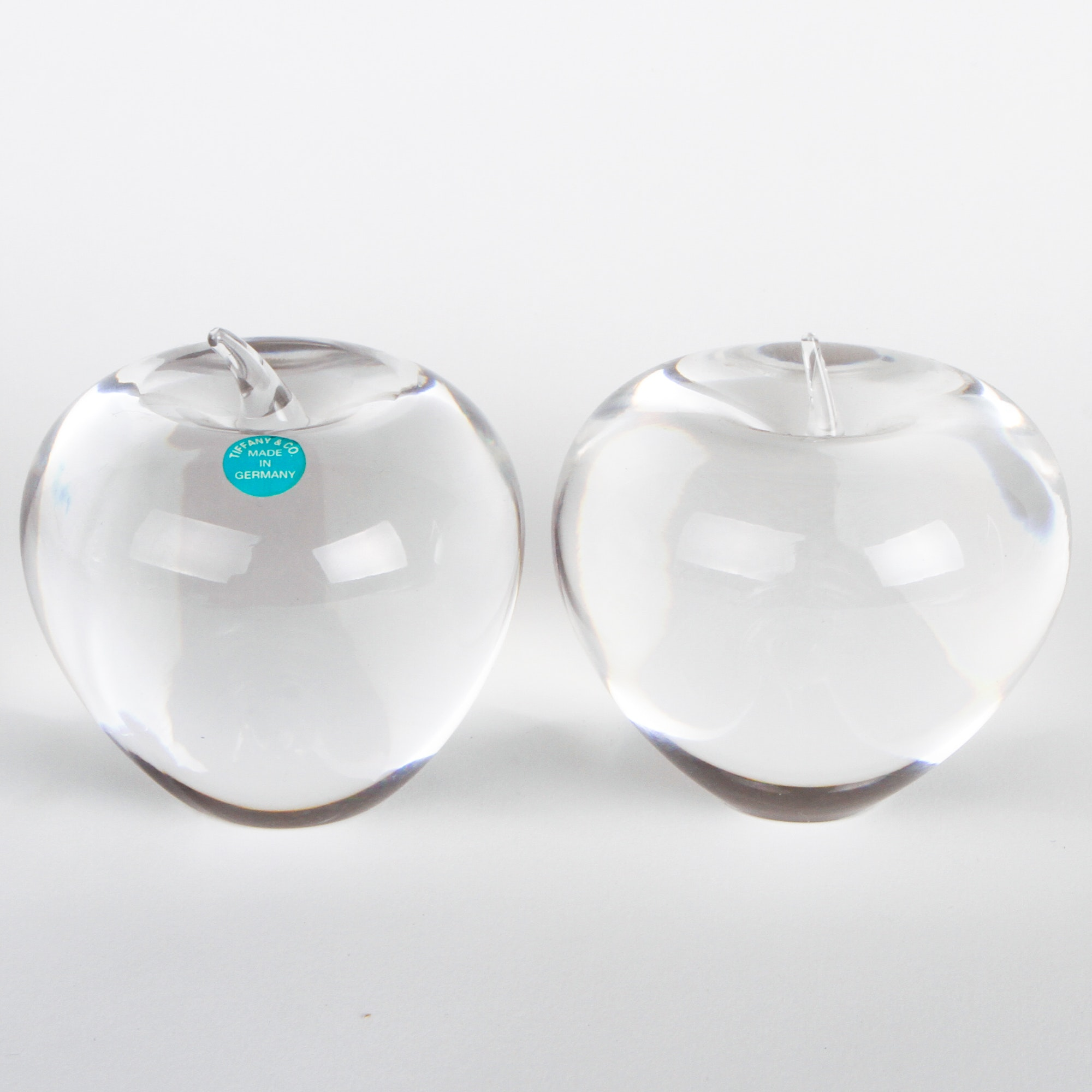 Pair of Tiffany and Co. Crystal Apples
