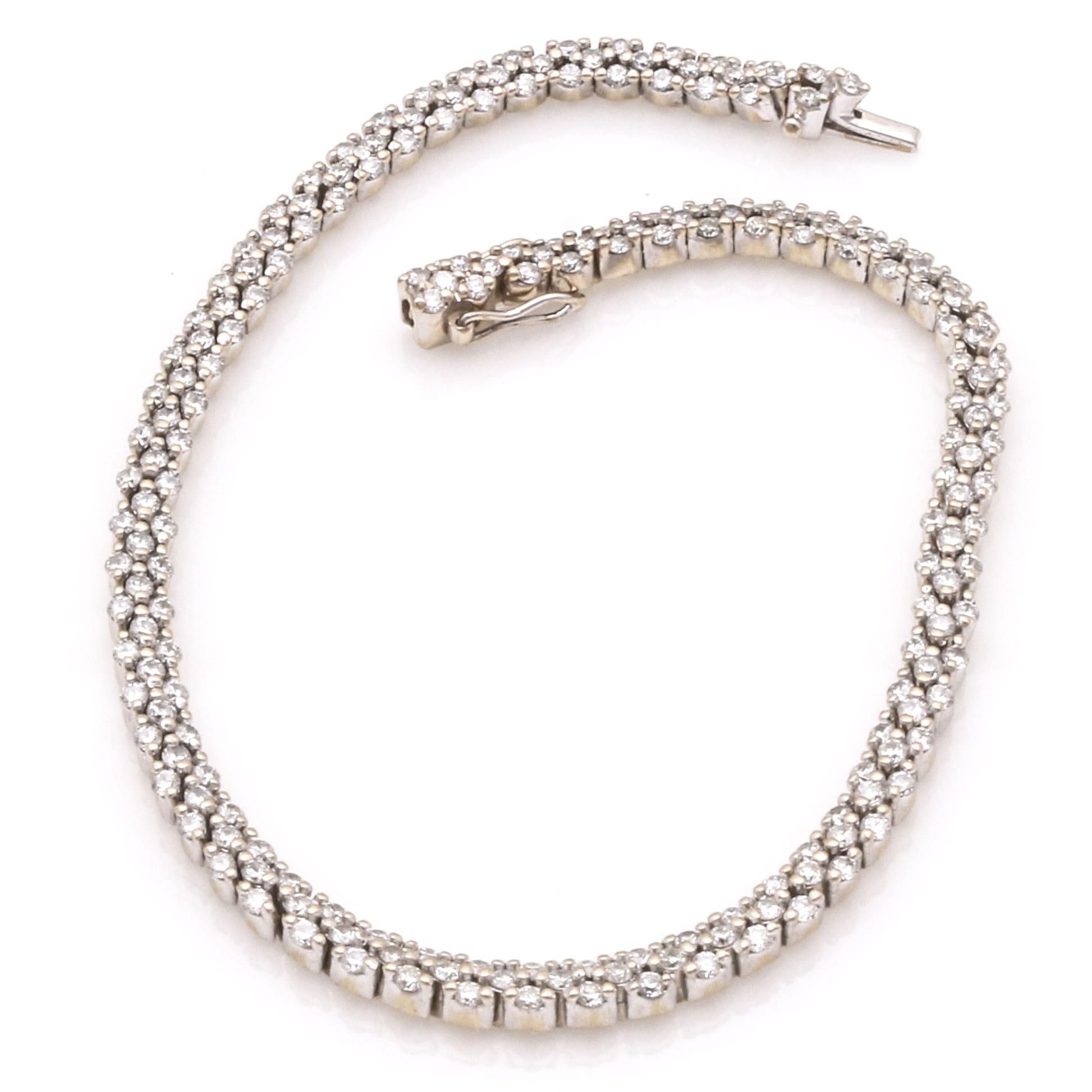 18K White Gold 2.48 CTW Diamond Tennis Bracelet