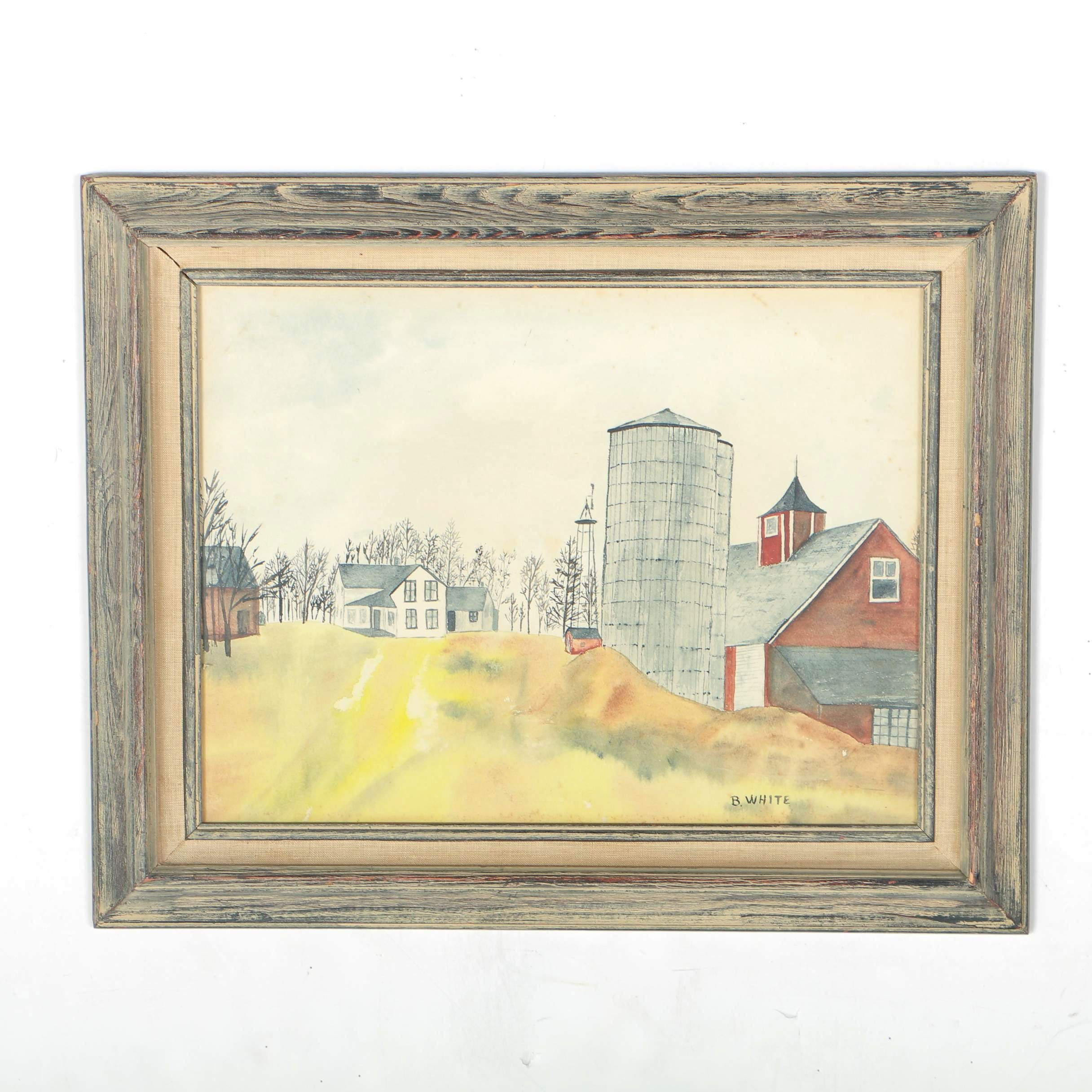1979 Original Watercolor Painting of Farm