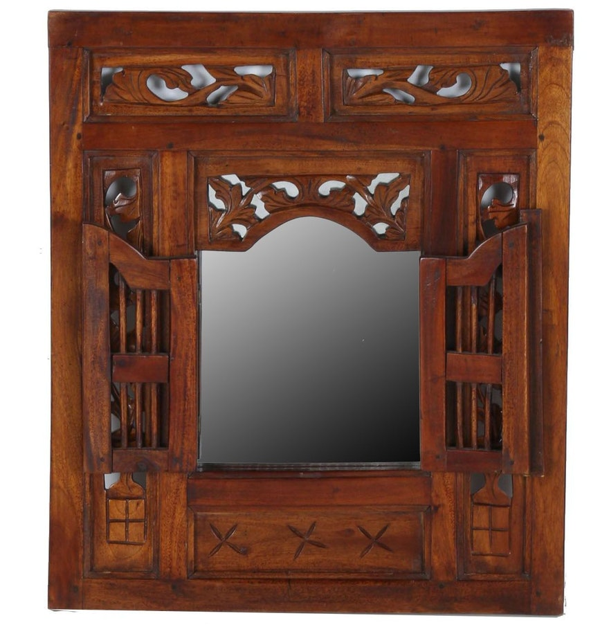 Ornate indonesian oak wall mirror ebth ornate indonesian oak wall mirror amipublicfo Images
