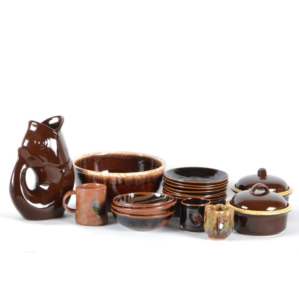 Collection of Brown Glazed Pottery