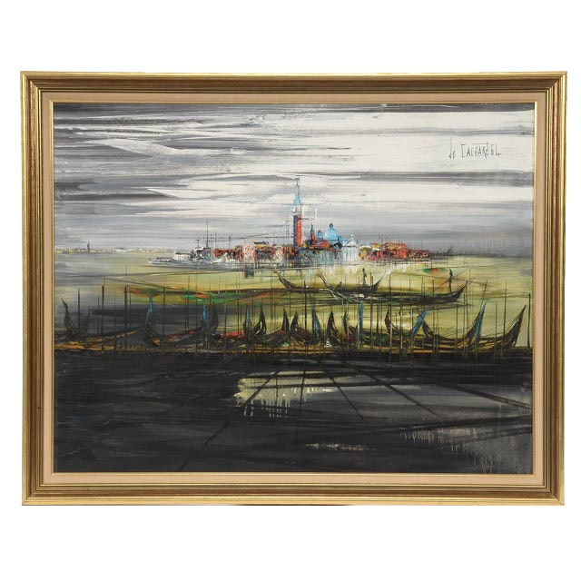 Regis de Bouvier De Cachard Original 1964 Oil on Canvas of Harbor Scene