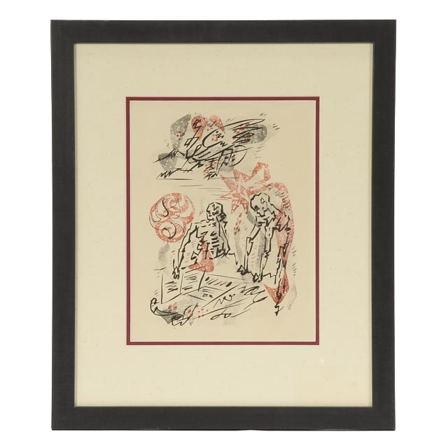 """André Masson Unsigned Aquatint Etching from 1949 Publication """"Les Conquérants"""" by André Malraux"""