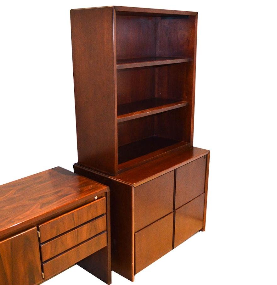 Bookshelf Filing Cabinet Vintage Kimball Bookcase Filing Cabinet Ebth