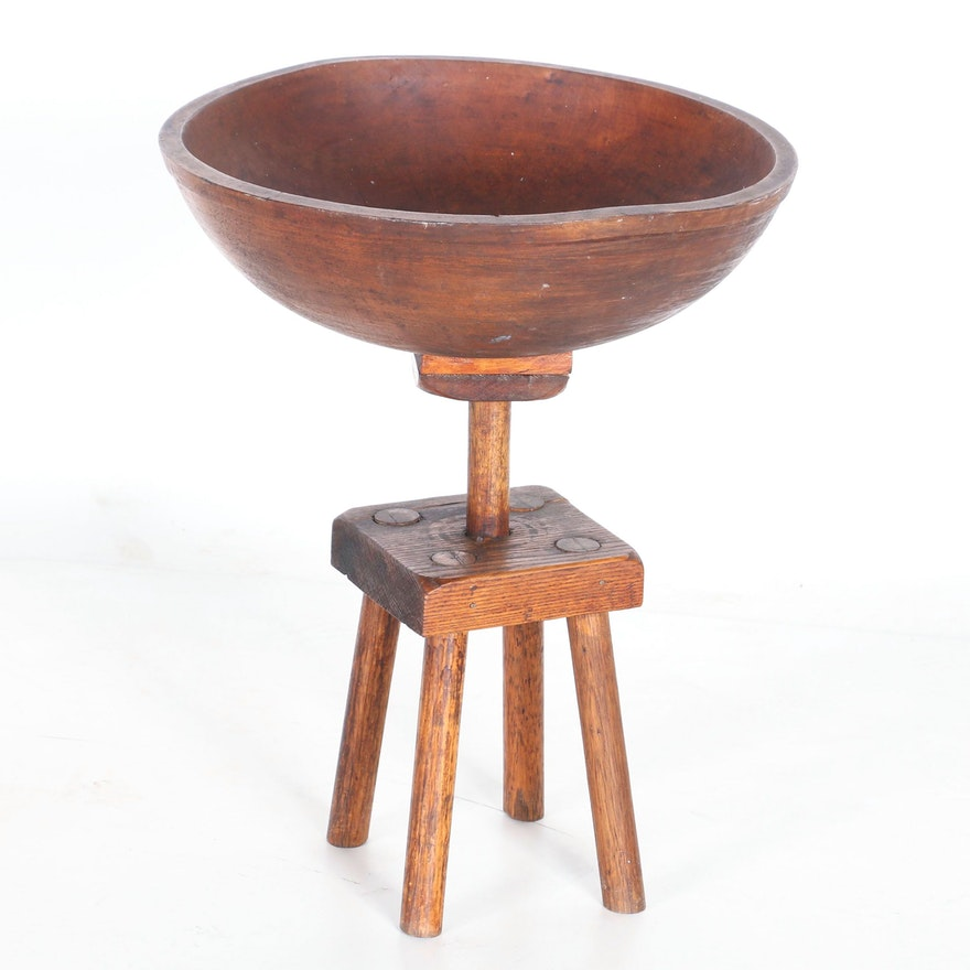 Antique Wooden Dough Bowl With Stand