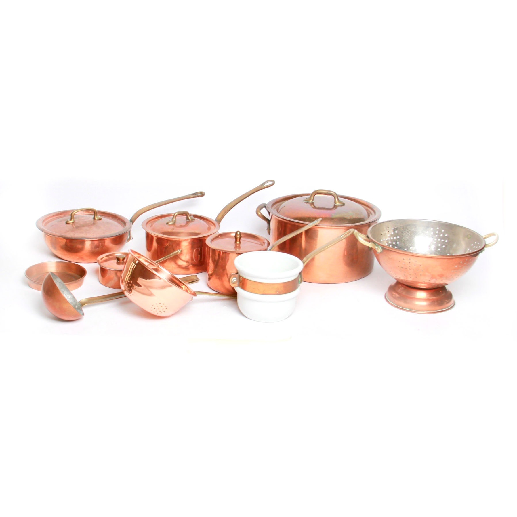 Grouping of Copper Cooking Pots and Pans