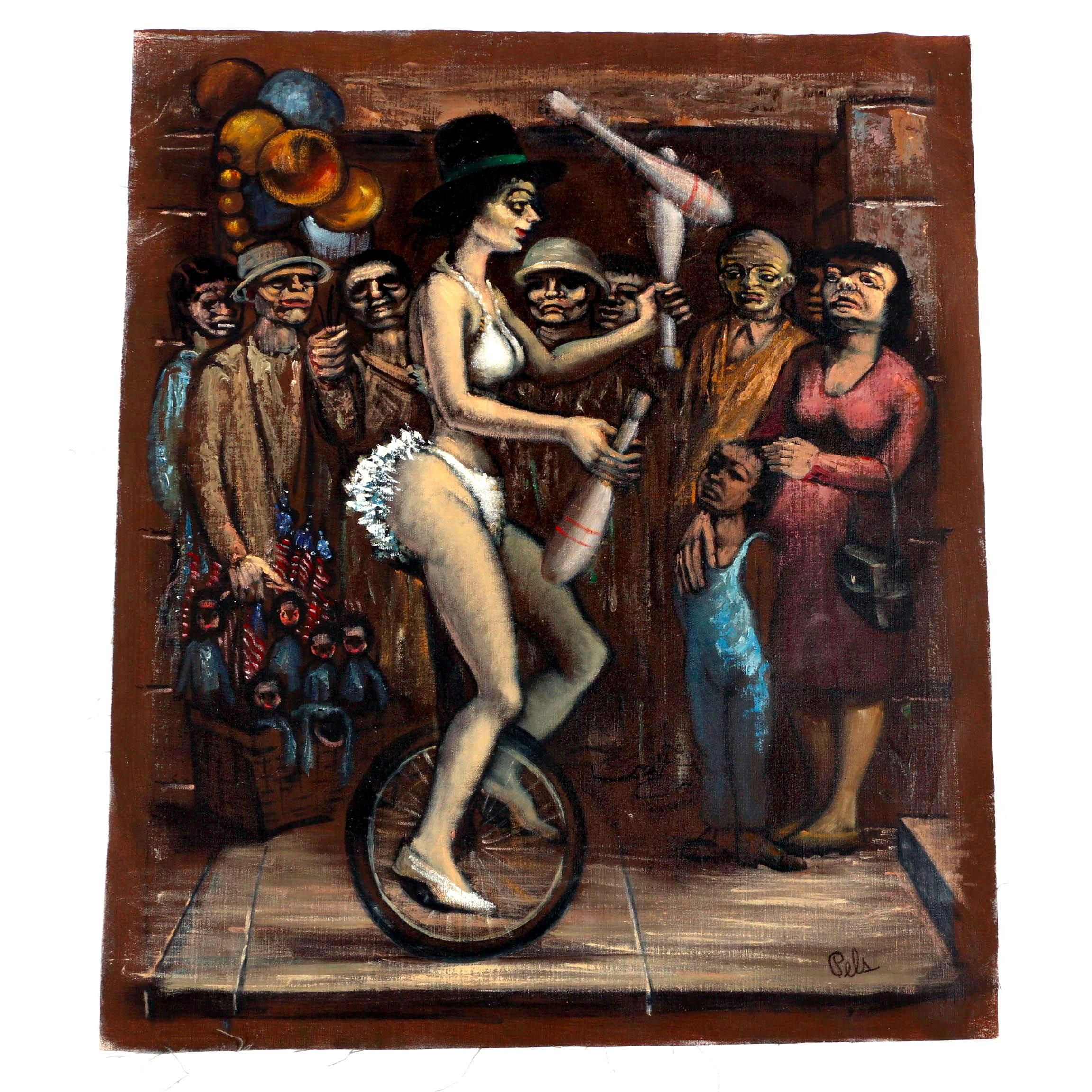 """Albert Pels Oil Painting on Unstretched Canvas """"Street Acrobat"""""""