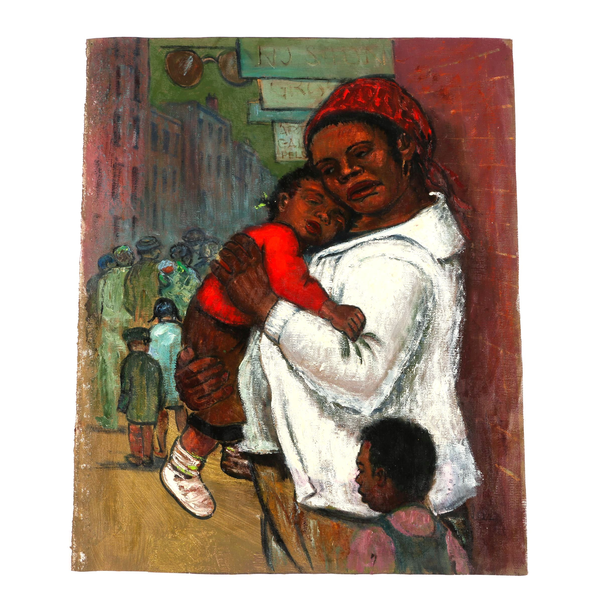 """Albert Pels Oil Painting on Unstretched Canvas """"Single Mother"""""""
