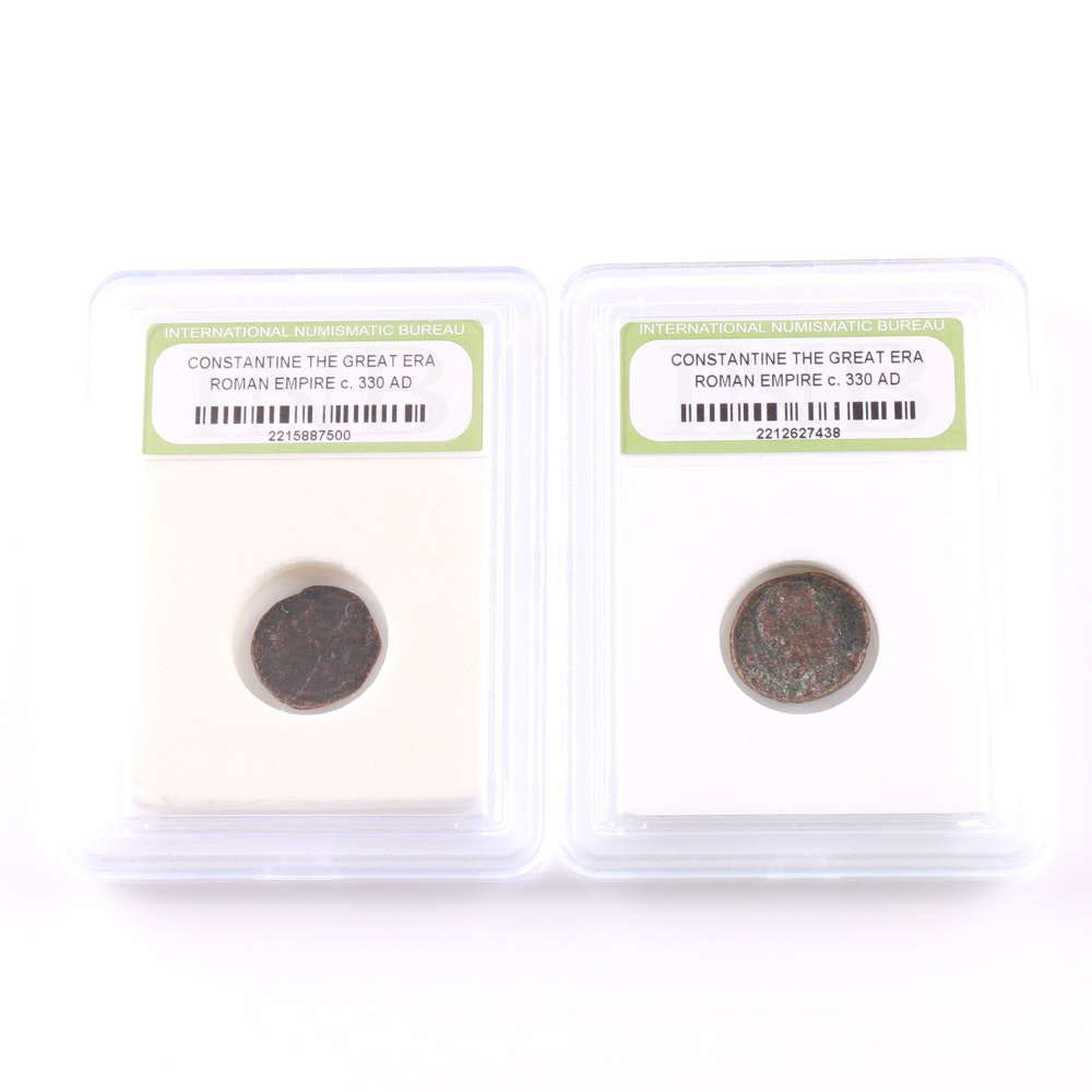 Two Ancient Roman Copper Coins from the Era of Constantine the Great