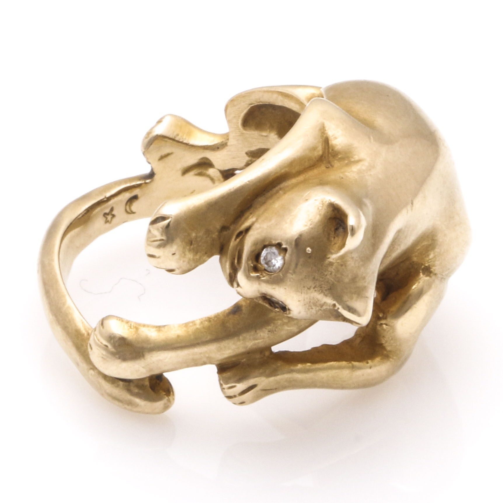 14K Yellow Gold Cat Ring With Diamond Eyes