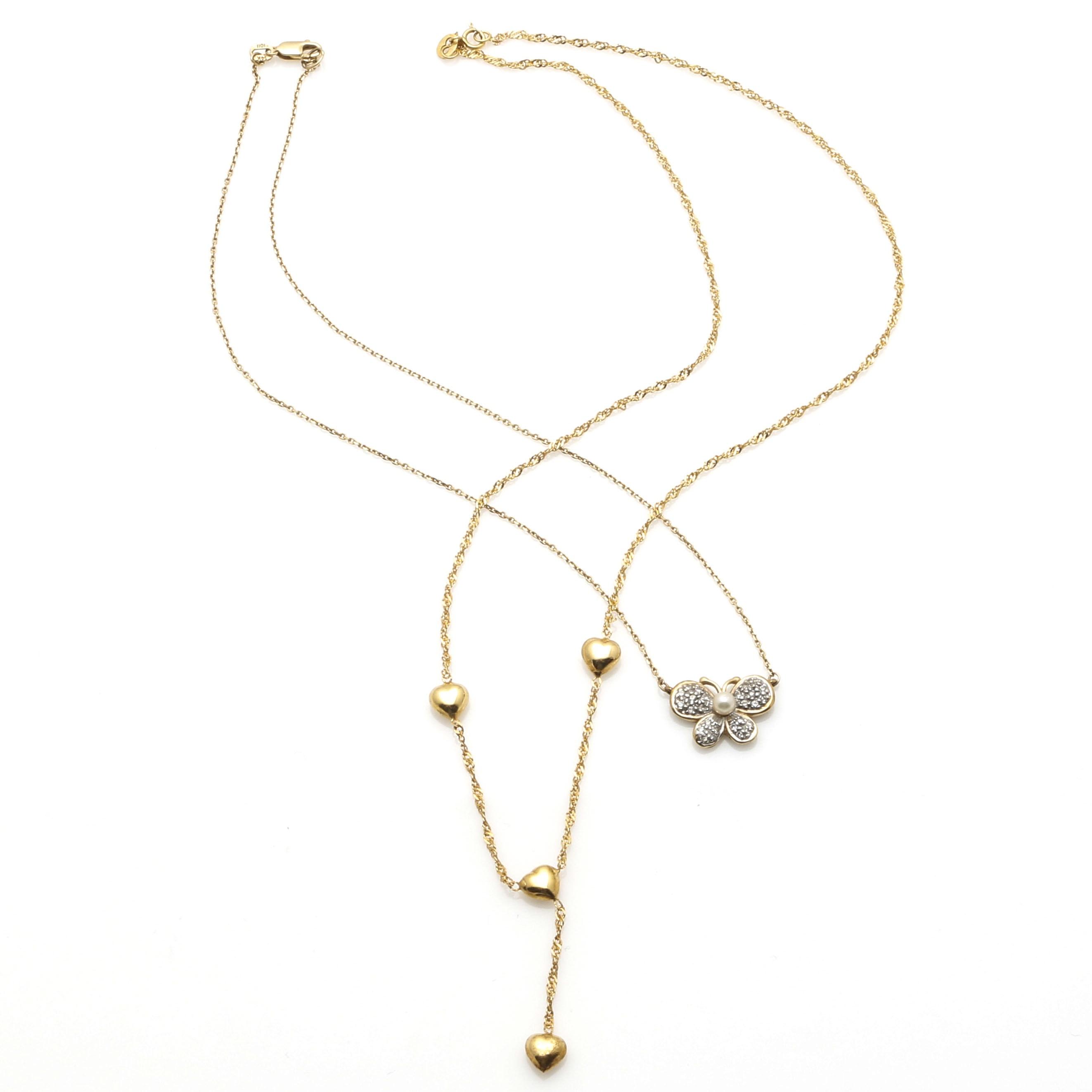 14K Yellow Gold Diamond Necklaces