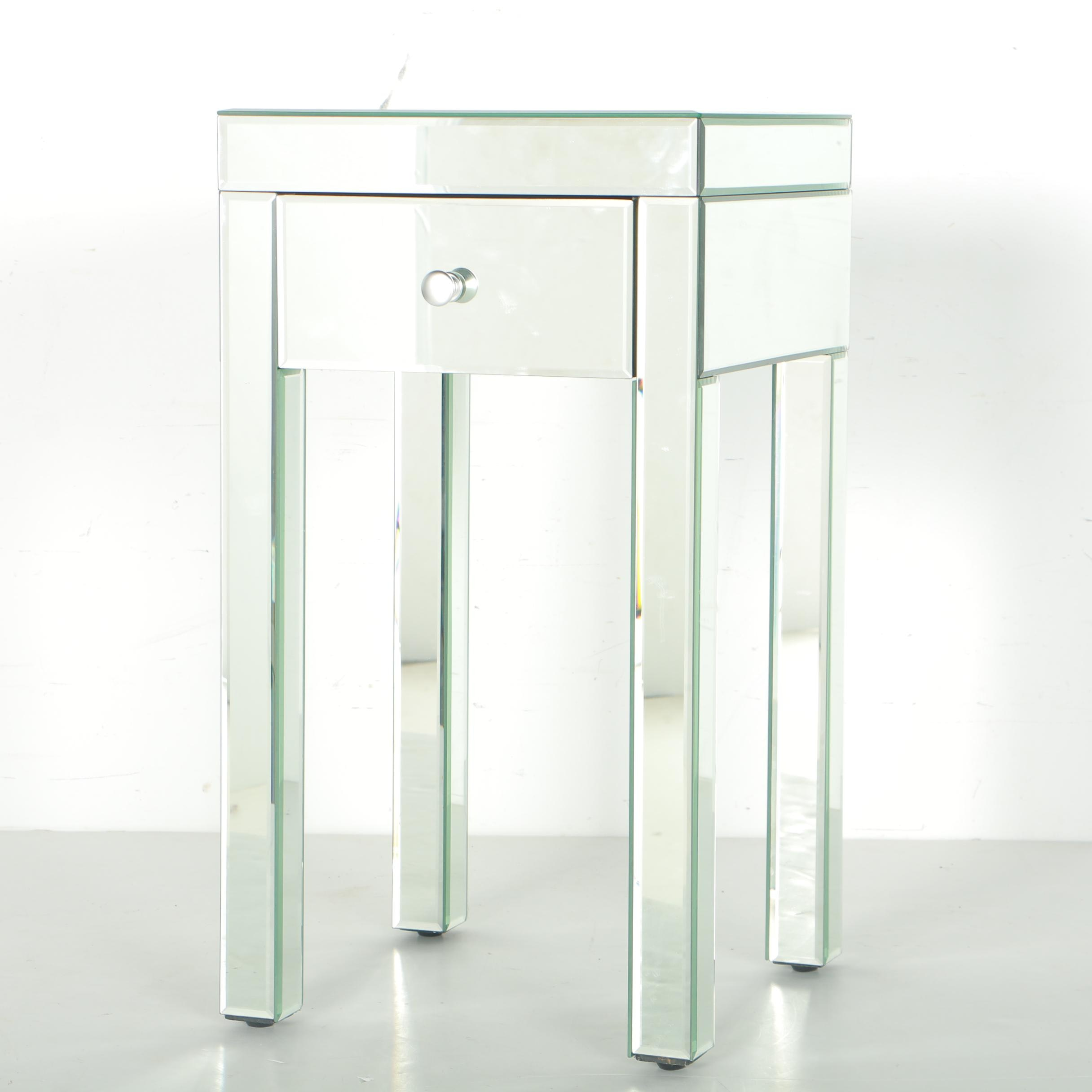 Mirrored Glass Accent Table