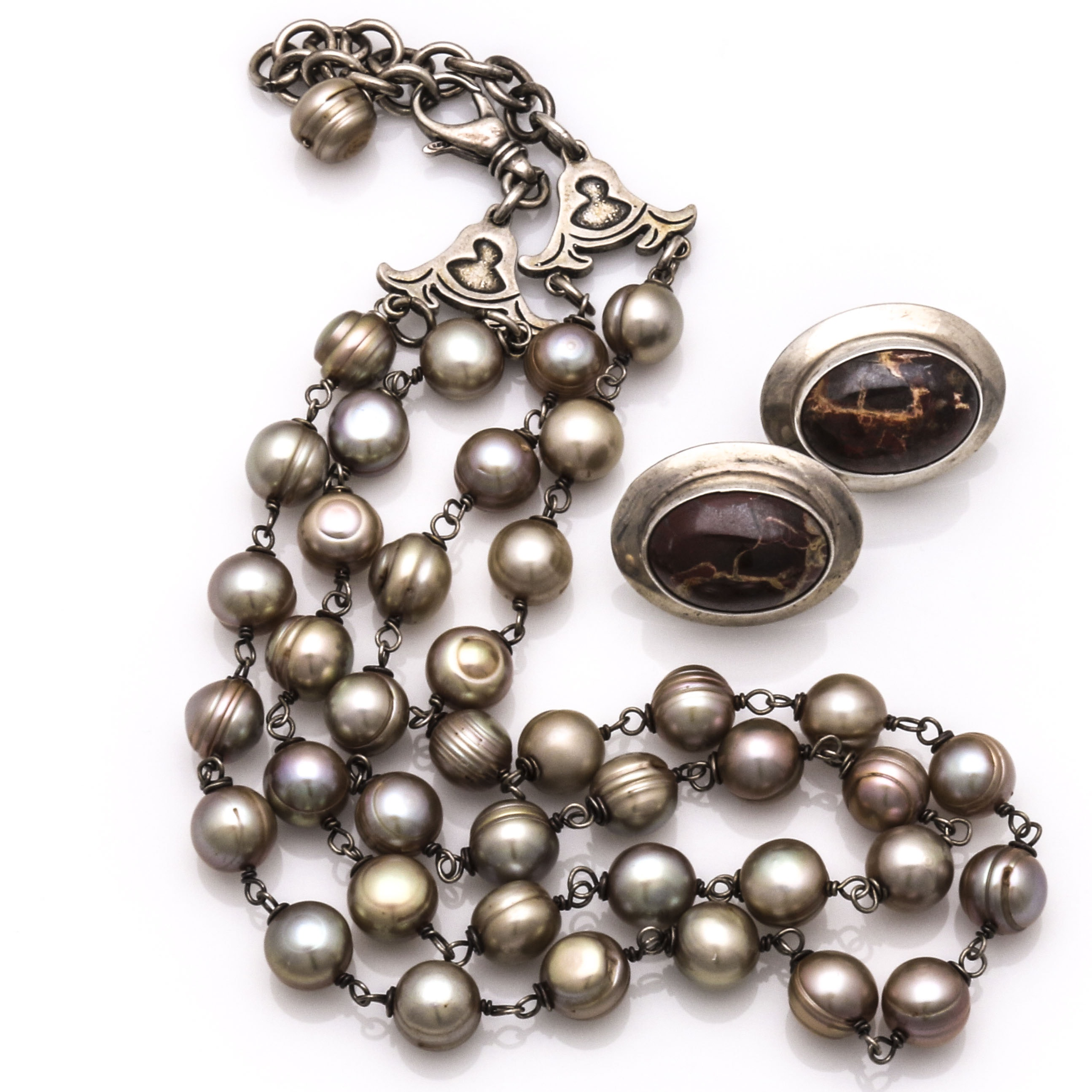 Sterling Silver Freshwater Pearl Necklace and Jasper Earrings