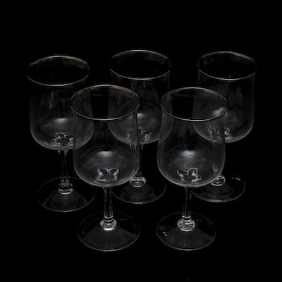 Lenox crystal monroe gold trim wine glasses ebth - Lenox gold rimmed wine glasses ...