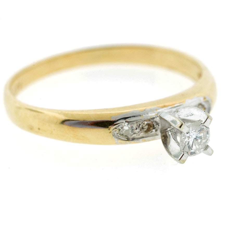 Vintage Dynasty 14k Gold Diamond Engagement Ring