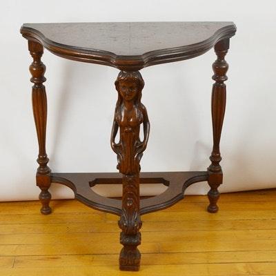 Vintage Figural Carved Leg Walnut Accent Table ...