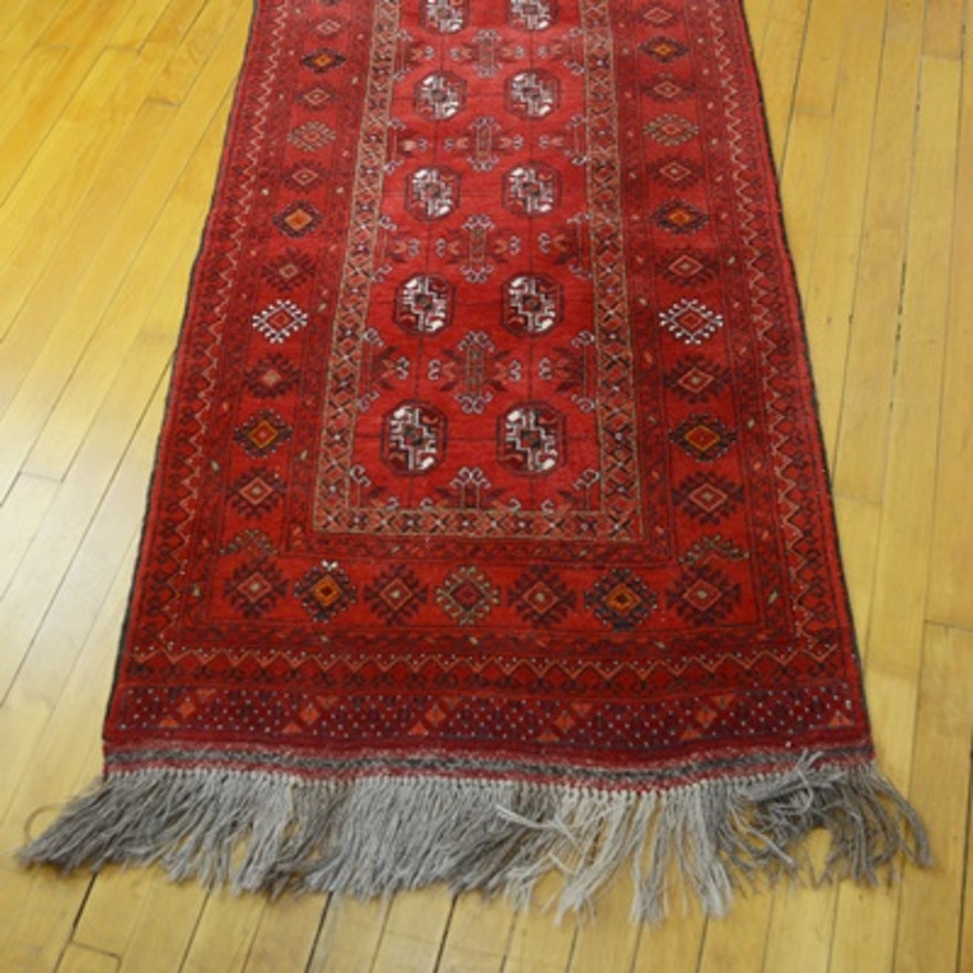 Hand Knotted Persian Wool Area Rug Ebth: Vintage Hand-Knotted Persian Bokhara Wool Carpet Runner