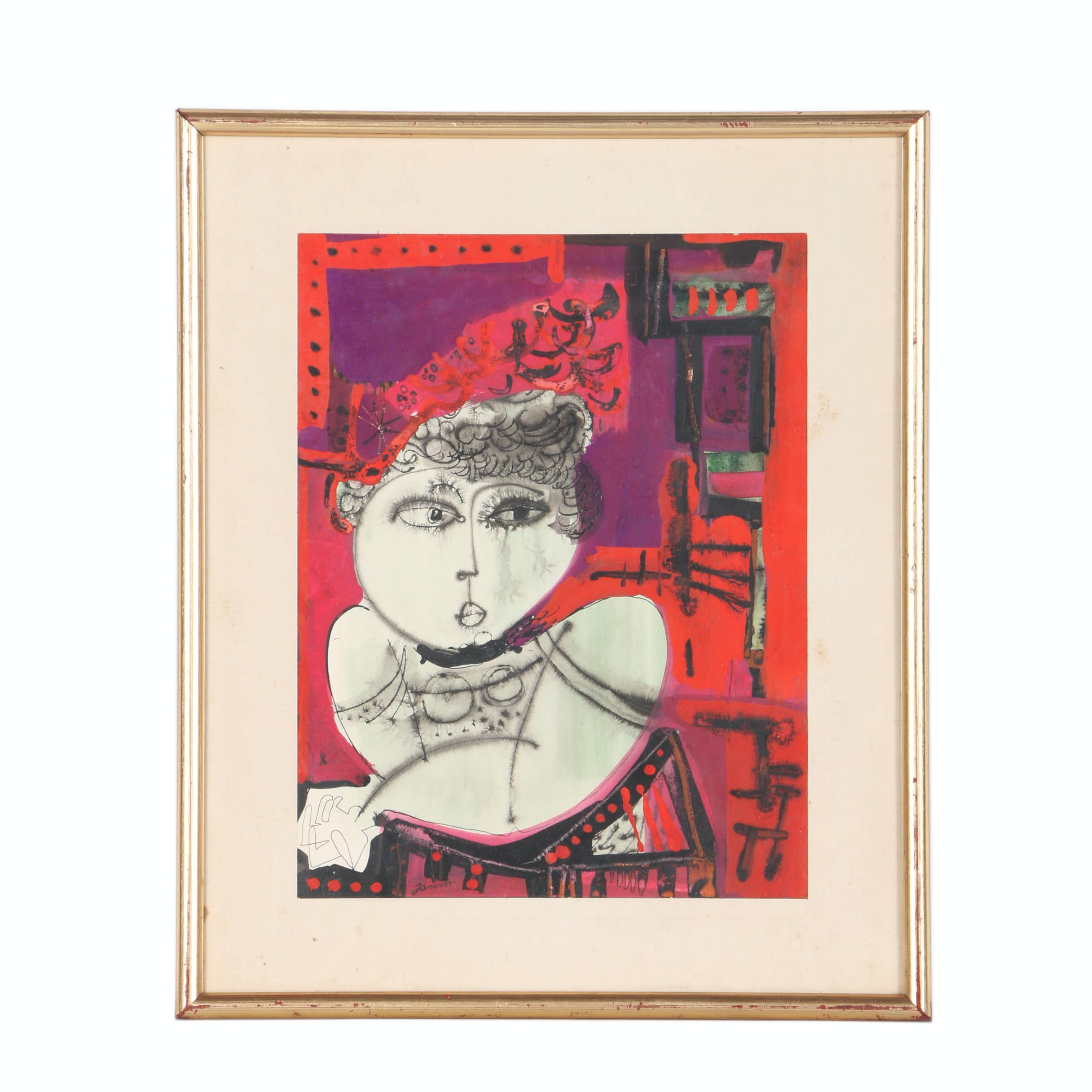Janson Mixed Media on Paper Portrait of a Woman