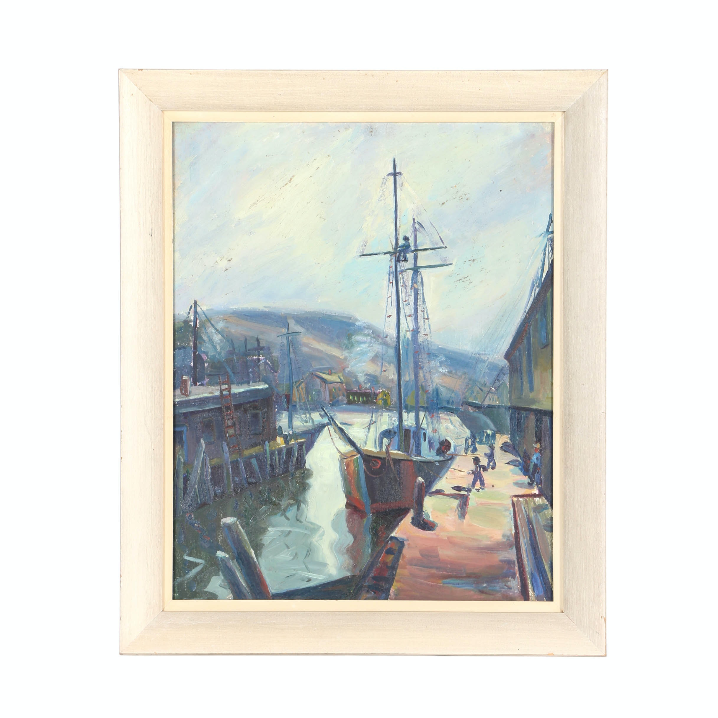 Original Oil Painting On Board of A Harbor