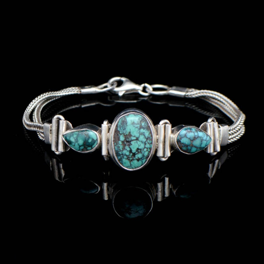 95a6a580a Native American Style Sterling Silver and Turquoise Bracelet : EBTH