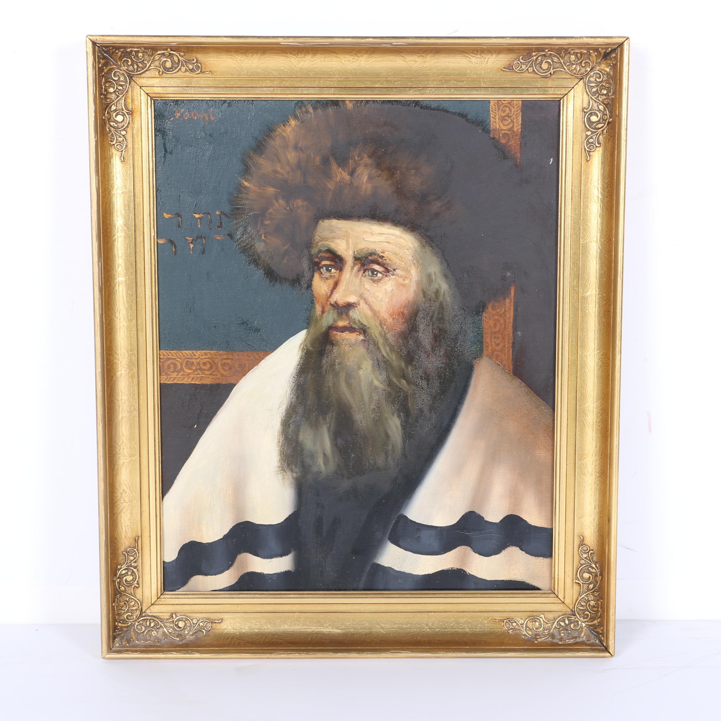 Original Oil on Canvas Portrait of an Orthodox Jewish Man