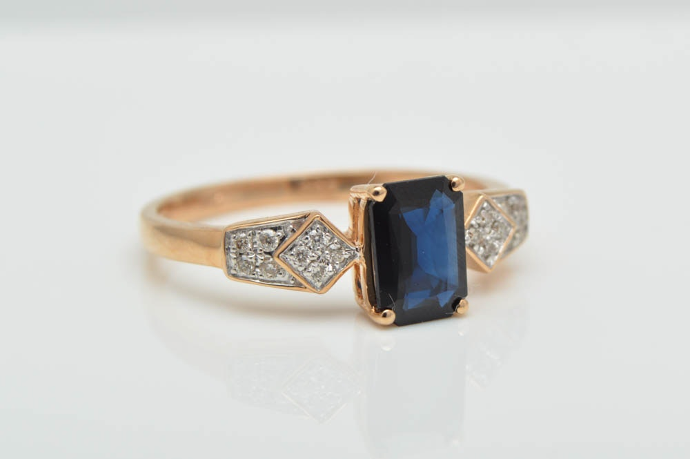 1.00 CT Blue Sapphire, Diamond and 14K Gold Ring