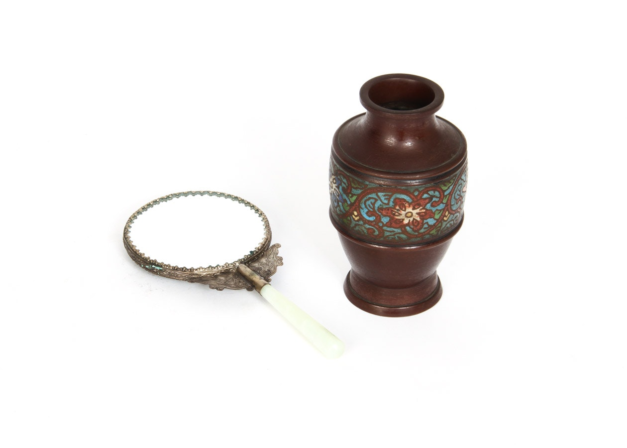 Chinese Hand Mirror and Cloisonné Vase