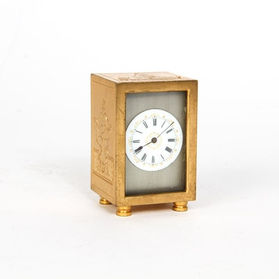 French Style Miniature Clock with Erotic Scenes