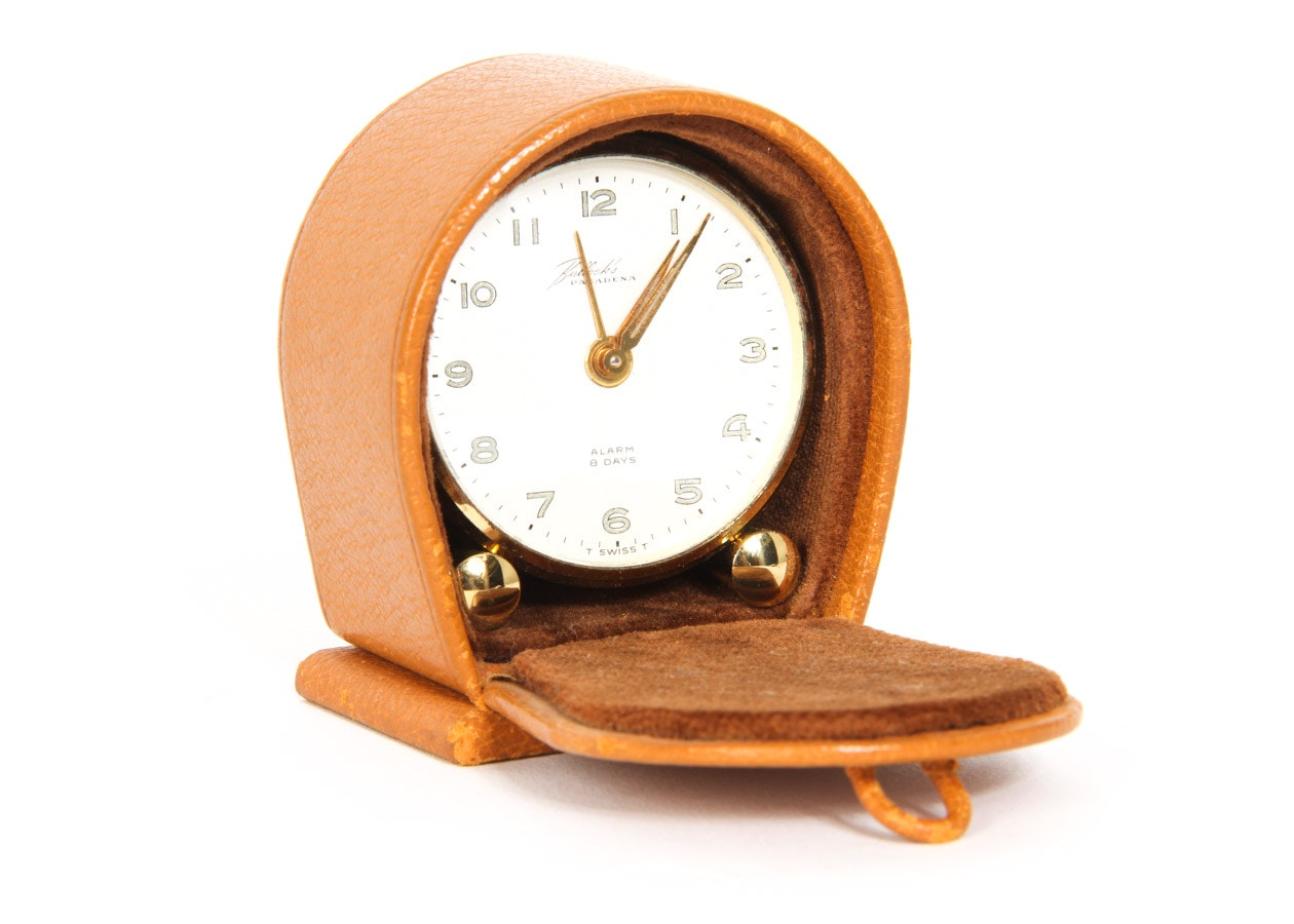 vintage swiss travel alarm clock by pasadena