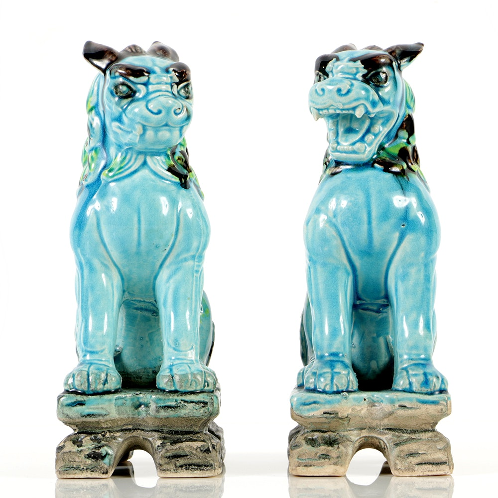 Pair of Antique Chinese Ceramic Sculptures of Guardian Lions