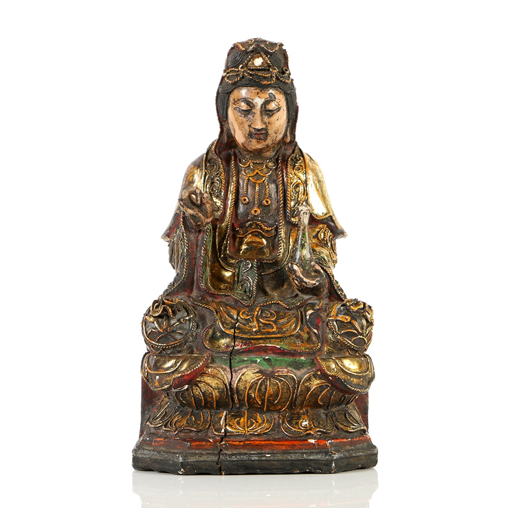 Antique Chinese Wood and Polychrome Gilt Sculpture of Guanyin