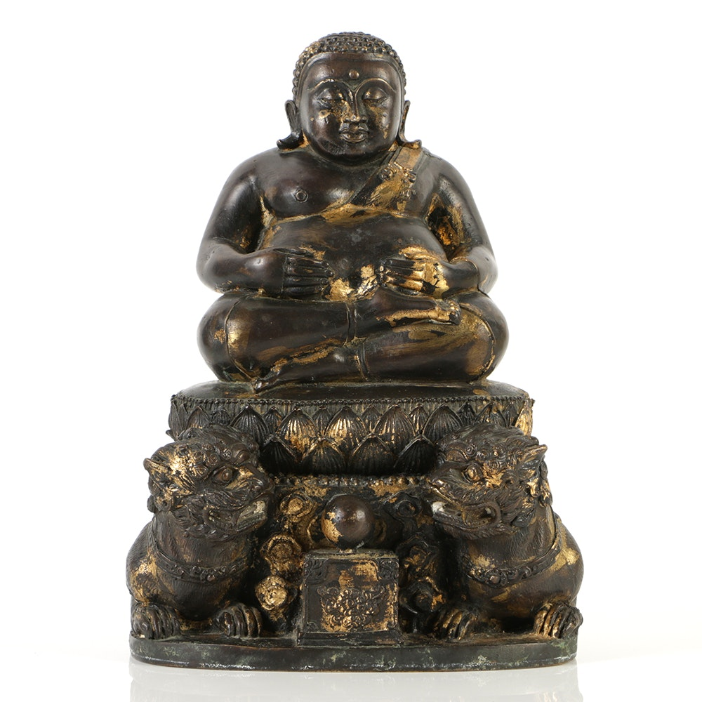 Chinese Ming Dynasty Bronze Budai Sculpture