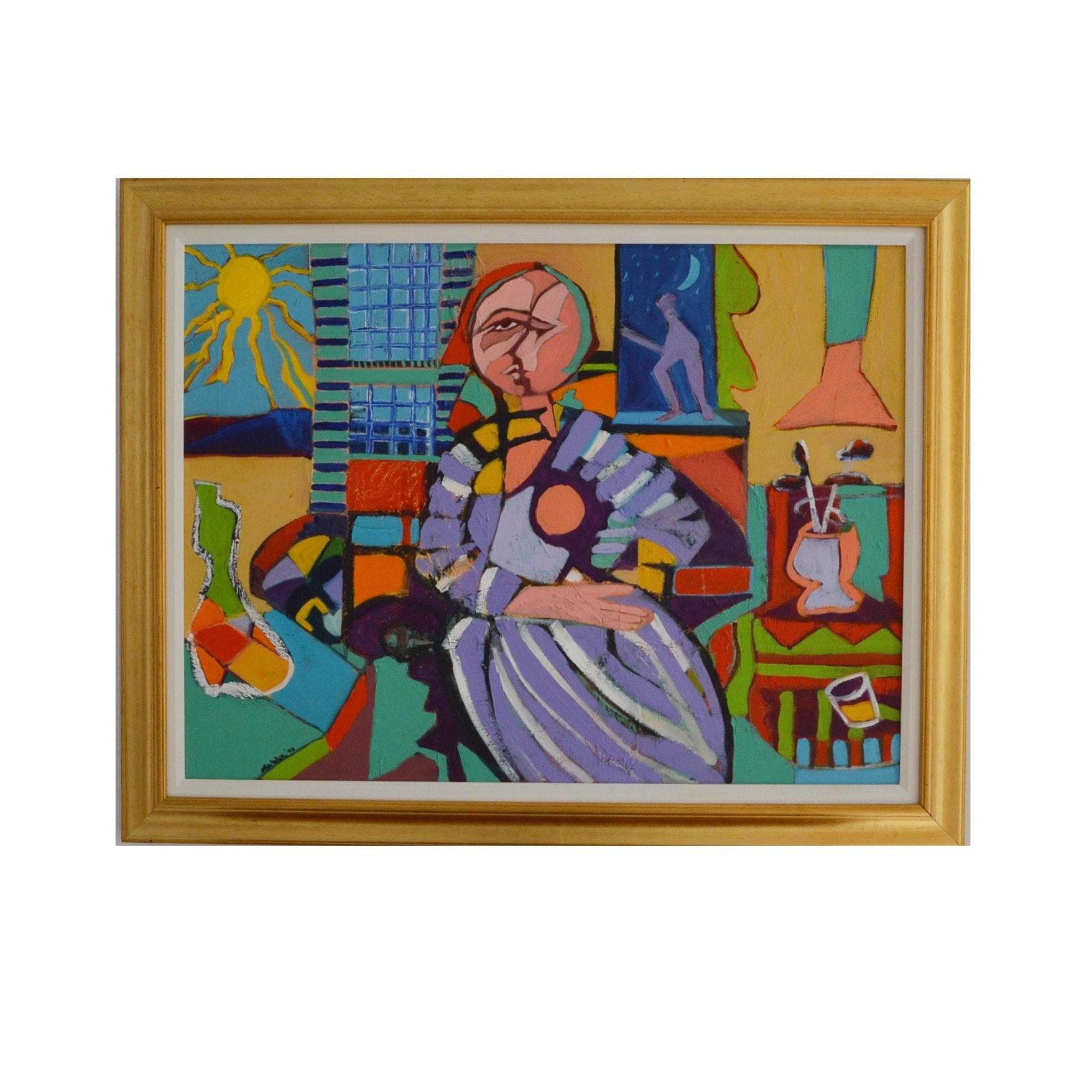 Cubist Acrylic on Canvas