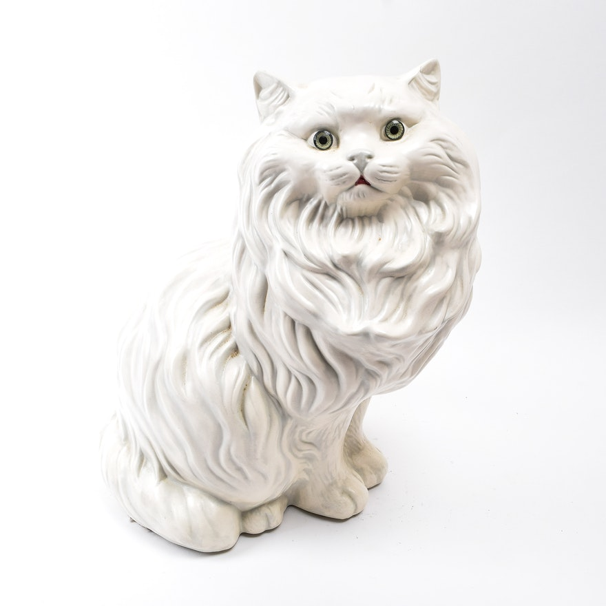 large ceramic longhaired white cat statue ebth