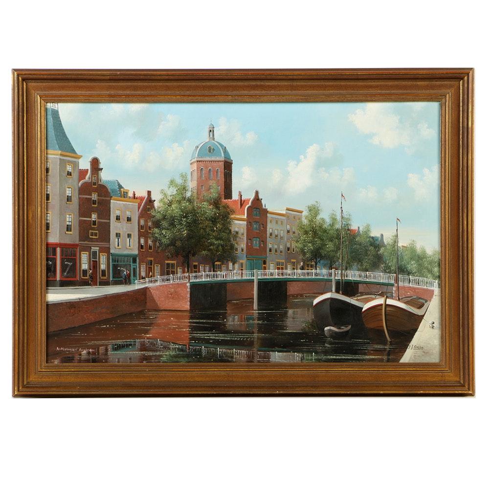 """George Jan Dispo Oil Painting on Canvas """"St. Nicolaaskerk, Amsterdam"""""""